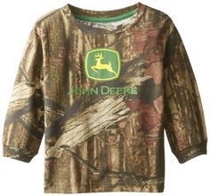 John Deere Little Boys' Long Sleeve Trademark Tee Mossy Oak Toddler: Be ready to go with camo. Mossy Oak pattern with John Deere trademark logo on the front center of this long sleeve tee. John Deere Kids, Cute Boy Outfits, Outdoor Brands, Kids Hats, Mossy Oak, Toddler Boys, Cute Boys, Little Boys, Long Sleeve Tees