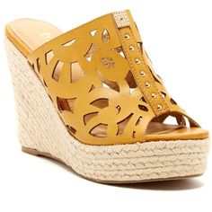 Bucco Eliana Wedge Sandal ($14) ❤ liked on Polyvore featuring shoes, sandals, beige, slip on shoes, bucco shoes, wedge heel sandals, platform shoes and platform wedge sandals