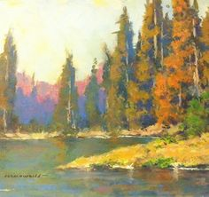 """By the Lake by John Weiss Oil ~ 8"""" x 10"""""""
