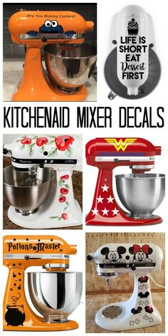 Mixer Decals: Decorate Your Stand Mixer! A collection of KitchenAid mixer decals to really amp up your machine!A collection of KitchenAid mixer decals to really amp up your machine! Kitchen Aid Decals, Kitchen Aid Mixer, Kitchen Aide, Kitchen Vinyl, Cute Kitchen, Kitchen Gadgets, Cricut Craft Room, Cricut Vinyl, Vinyl Decals