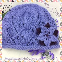 Ladies HatLacy Lavender 2-tier flower Deep Purple Caron Simply Soft. New design using the diamond lace and pointed leaf flower. I love the center starburst effect with the contrasting purple and lavendar! Really classy rich lavender with deep purple and lavender flower with two leaves. Hat is hand knit in a diamond lace pattern. @JazzitupwithDes #indiemade