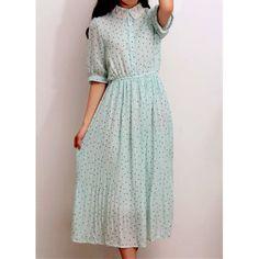 Vintage Polo Collar Ruffled Polka Dot Print Short Sleeves Chiffon Women's DressVintage Dresses   RoseGal.com