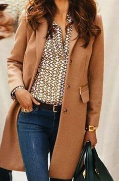 Coffee Plain Pockets Turndown Collar Fashion Nylon Wool Coat