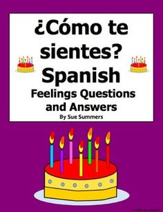 """Spanish Feelings 12 Question Responses and Image IDs - Sentiments - by Sue Summers - Students respond to 12 """"Cmo te sientes cuando..."""" questions that ask about different situations, such awakening, getting too little sleep, and not being able to eat. There are also 10 clip art images for students to identity."""