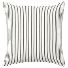 IKEA - INGALILL, Cushion cover, white, dark grey striped, Cotton is a soft and easy-care natural material that you can machine wash. Colours are retained wash after wash thanks to the yarn-dyed cotton. The hidden zipper makes the cover easy to remove. Dark Interiors, Shop Interiors, Colorful Interiors, Cushion Pads, Cushion Covers, Ikea Family, Family Room, Striped Cushions, French Country Bedrooms