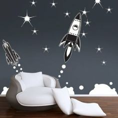 Amazon.com: Retro Rockets Wall Stickers: Baby