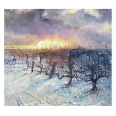End of the Day, Army of Apple Trees by Sophie Knight, The Royal Watercolour Society RWS – Dry Red Press Art Society, Knight, Fine Art, Watercolor, Beautiful Greeting Cards, Painting, Art