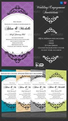 Wedding or Engagement invite with flourishes Print Templates PSD | Buy and Download: http://graphicriver.net/item/wedding-or-engagement-invite-with-flourishes/234765?WT.ac=category_thumb&WT.z_author=tarryn4312&ref=ksioks