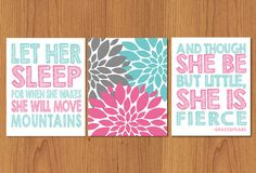 Let Her Sleep For When She Wakes And Though She Be But Little She is Fierce Pink Aqua Grey Nursery Wall Art Flower Burst set of Three (74) on Etsy, $35.00