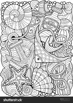 Vector. Coloring Book For Adult. Summers Sea - 344663159 : Shutterstock