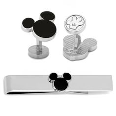 Disney Black Silhouette Mickey Mouse Ears cufflinks and tie bar. Perfect for the Disney enthusiast. Available on our website.     #jewelry #Disney #cufflinks #fashion #suit #MensFashion #menswear #style #MickeyMouse