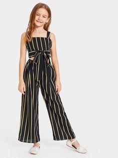 Girls Tie Waist Striped Crop Top & Wide Leg Pants Set   SHEIN IN
