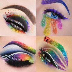 We can& get over these mesmerizing rainbow makeup looks. - We can& get over these mesmerizing rainbow makeup looks. Source by hellogiggles Ankara Nakliyat Makeup Eye Looks, Eye Makeup Art, Colorful Eye Makeup, Crazy Makeup, Eye Art, Cute Makeup, Eyeshadow Makeup, Peacock Eye Makeup, Makeup Quiz