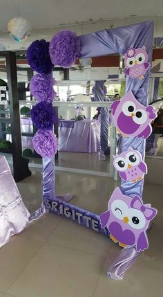 Baby shower diy photo booth party backdrops 51 ideas for 2019 Owl Birthday Parties, Birthday Decorations, Girl Birthday, Owl Parties, Owl Themed Parties, Purple Birthday, Purple Party, Party Frame, Monster Party