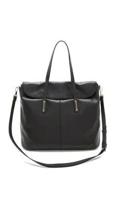 elizabeth and james - large leather satchel. fold over magnetic top flap. $625. #shopbop