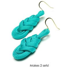 Share your favorite products on Pinterest and receive a 5 dollars off a 50 dollar order coupon! (Minimum $50 order after volume discount) Teal Pipa Knot Earrings | Free Jewelry Patterns | Prima Bead