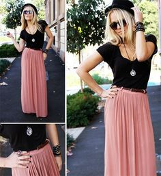Pleated maxi, V-neck tee, hat.