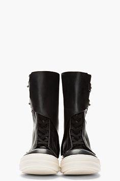 RICK OWENS Black monk strap Military Dunk boots.