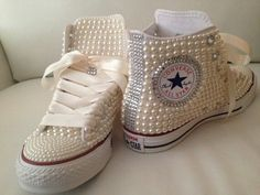 Pearl studded converse.