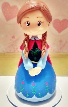 Anna Frozen em Biscuit - Topo de bolo