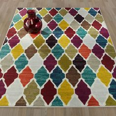 Ottomanson Authentic Collection Multicolored Polypropylene Non-slip Contemporary Rug (3'3 x 5') (Trellis - 3X5), Multi, Size 3'3 x 5'