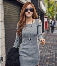 2015Autumn Winter Cotton Dress Sexy Women Off Shoulder O-Neck Long Sleeve Slim Knit Knitwear Sweater Dresses Black Gray M-XXL(China (Mainland))