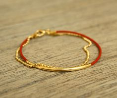 Red+Leather+Bracelet+with+Delicate+Gold+Ball+Chain+by+fourhandsNYC,+$22.00