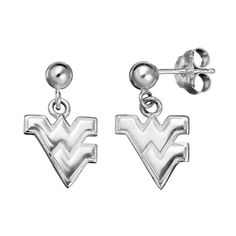 Dayna U West Virginia Mountaineers Sterling Silver Drop Earrings, Women's, Grey