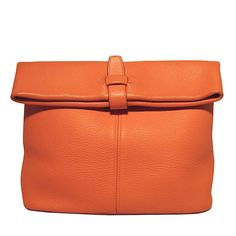 Hermes Rare Orange Clemence Leather Fold Over Clutch | From a collection of rare vintage clutches at https://www.1stdibs.com/fashion/handbags-purses-bags/clutches/