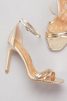 These metallic ankle-wrap heels feature skinny asymmetric crisscross straps at the toe, adding a bit of unexpected detail to the barely there silhouette. By Anne Michelle Synthetic 4 heel Adjusta Sparkly Wedding Shoes, Sparkly Shoes, Bridal Shoes, Ankle Strap Heels, Ankle Straps, Shoes Heels Boots, Sandal Heels, Diamond Shoes, Stiletto Heels