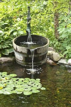 Cottage garden pond fountain! I would have a few goldfish in there too | Outdoor Areas
