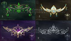 Diadems adopts 2 (CLOSED) by Rittik-Designs on DeviantArt. Top left could be tattoo inspiration Anime Weapons, Fantasy Weapons, Fantasy Drawings, Fantasy Art, Arte Do Kawaii, Magical Jewelry, Weapon Concept Art, Fantasy Costumes, Art Graphique