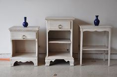 White paint with dark walnut stain as a glaze - interesting