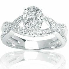 1.11 Carat GIA Certified Pear Cut / Shape 14K White Gold Eternity Love Criss Cross Twisting Split Shank Diamond Engagement Ring ( E Color , VS2 Clarity ) Chandni Jewels http://www.amazon.com/dp/B00BZGKZ8U/ref=cm_sw_r_pi_dp_9zpLtb1ZDY5RMJFJ