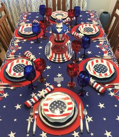 Uncle Sam's Table — Whispers of the Heart Wooden Stars, Metal Stars, 4th Of July Party, Fourth Of July, Waterford Marquis, Bunting Design, 4th Of July Decorations, Vintage Tablecloths, Ballard Designs