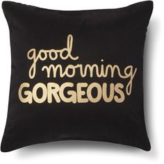 Xhilaration Good Morning Gorgeous! Decorative Pillow Navy/Gold... ($80) ❤ liked on Polyvore featuring home, home decor, throw pillows, pillows, sleepwear, navy accent pillows, gold accent pillows, xhilaration, gold toss pillows and navy blue toss pillows
