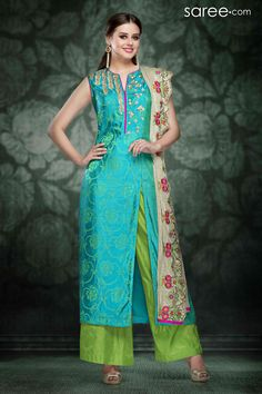 SEA GREEN SILK SUIT WITH EMBROIDERY WORK