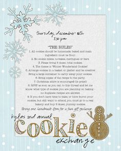 Beautiful cookie exchange printable... plus party ideas for your cookie exchange!