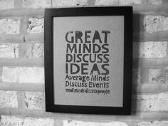 My life needs more discussions about ideas!