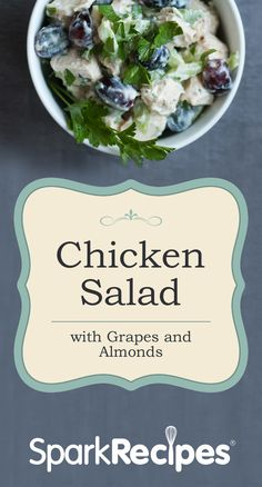 Chicken Salad with Grapes & Almonds Recipe. Try bringing this winner to your next pot luck! | via @SparkRecipes