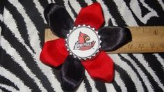 Sporty Bottlecap Flower NCAA Louisville Cardinals Logo Hair Bow ~ Free Shipping Price: $4.00