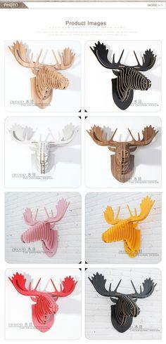 8 colours choices, modern farmhouse moose head decor, iwood crafts, Guangzhou China