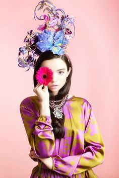 Show-Stopping Hats for Spring | StyleCaster    Eric Javits headband with silk flowers, feathers, gold