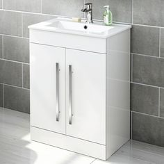 Gloss White Bathroom Furniture - Vanity Units with Basin & Storage Cabinets Wooden Bathroom Cabinets, Bathroom Sink Units, White Bathroom Furniture, Bathroom Ideas, Bathroom Vanities, Sink Vanity Unit, Vanity Units, Cloakroom Storage, Basin Cabinet