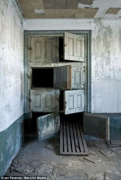 Inside mortuary building on Ellis Island.