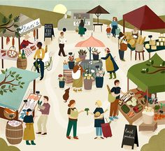 Summer Market illustration by ©Clare Owen. Represented by i2i Art Inc. #i2iart