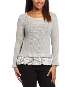 Gray Lace-Accent Sweater by Simply Irresistible #zulily #zulilyfinds