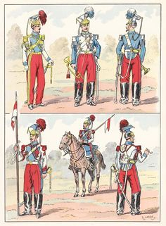 French; Imperial Guard, Lancers, 1857 from Hector Large's Le Costume Militaire Vol III