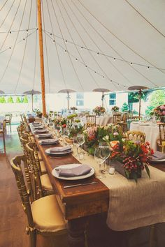 Really like this color combo. Tented reception // photo by W Scott Chester Tent Reception, Wedding Reception Decorations, Wedding Receptions, Wedding Themes, Wedding Designs, Wedding Table, Table Decorations, Wedding Ideas, Flower Box Centerpiece