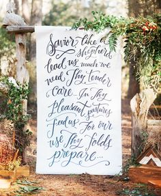 Calligraphy backdrop by Paperglaze Calligraphy, Styling by Everything Artsy Events, Woodwork by Jodami Design, Photo by Rachel Procell Photography